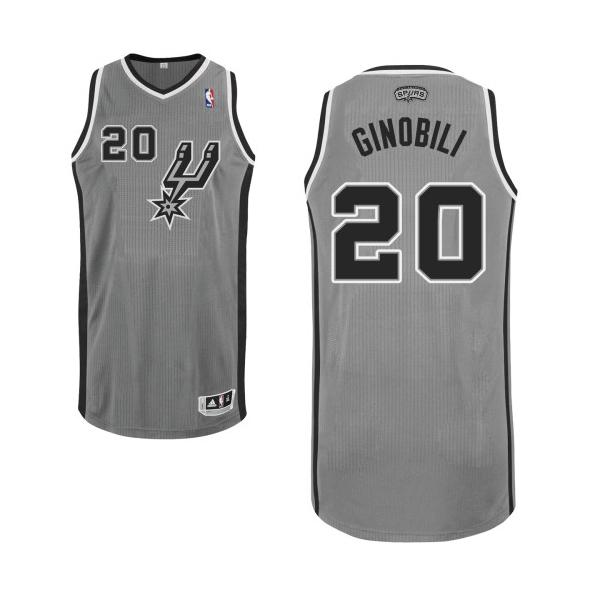 big sale b5b67 b6d40 Manu Ginobili Authentic Alternate NBA Jersey - Grey Adidas ...