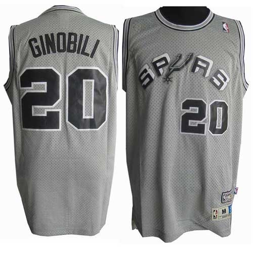 reputable site cb3e4 04cbb Manu Ginobili Swingman Throwback NBA Jersey - Grey Adidas ...